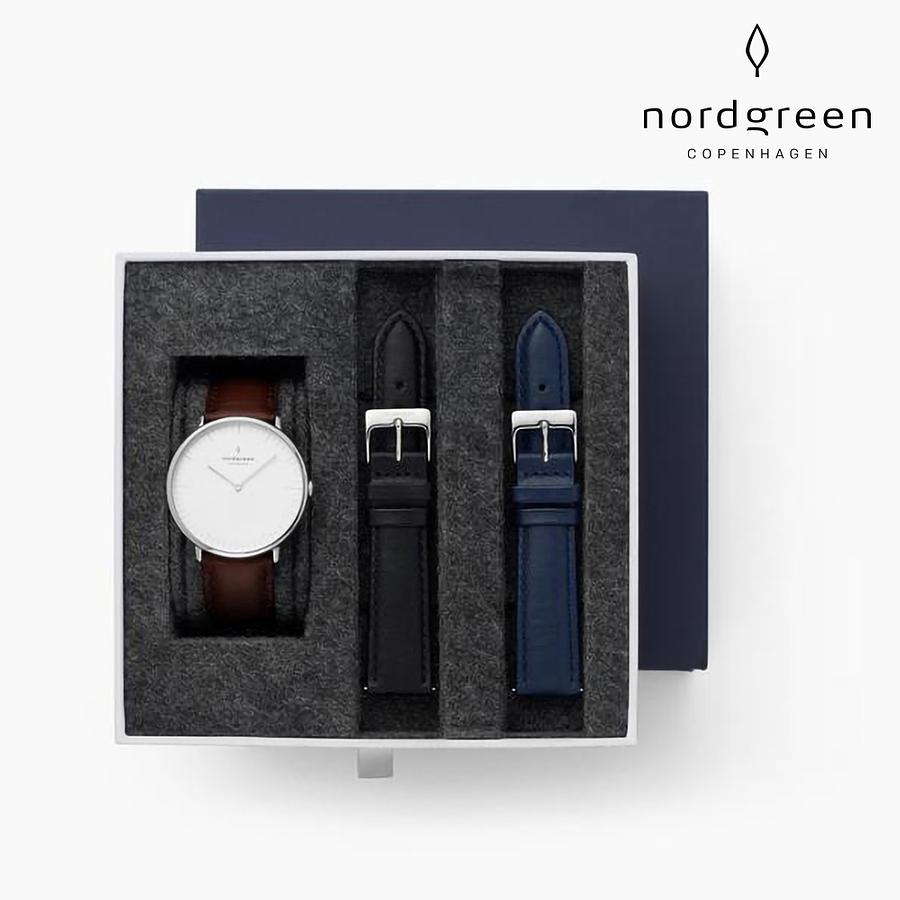【Nordgreen】Native 本真 月光銀系列 復古棕真皮錶帶手錶禮盒組 (附極夜黑真皮&北歐藍真皮錶帶)36mm 誠品線上