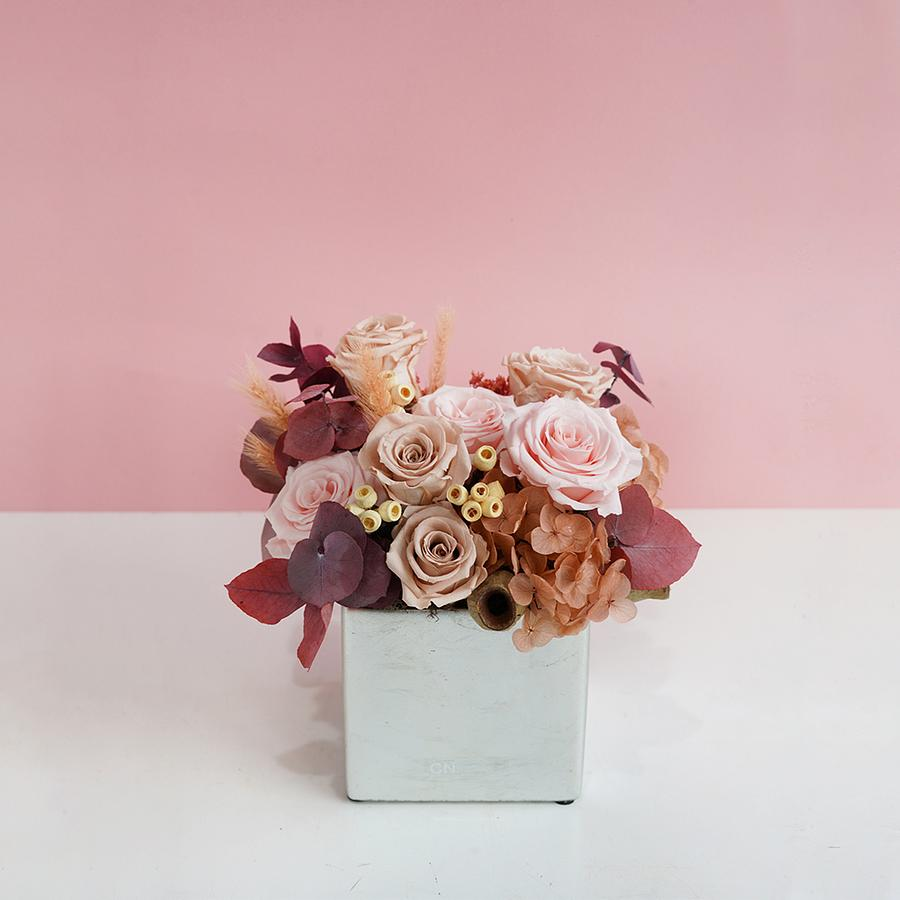 CNFlower西恩 粉色夢境 恆星盆花 D&M銀色方型花器 送禮 買花 恆星花 花禮 誠品線上