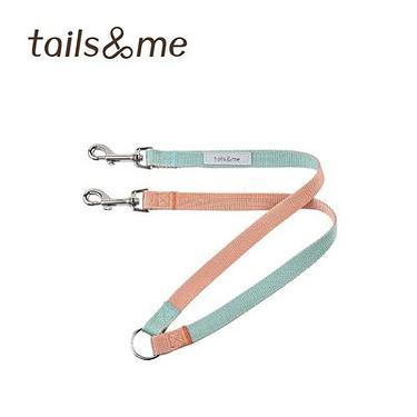 tails & me尾巴與我經典尼龍帶/ 一對二牽繩/ 粉橘薄荷/ S