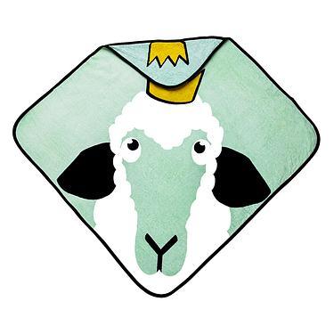 babyLivia有機棉連帽浴巾/ 綿羊/ 綠