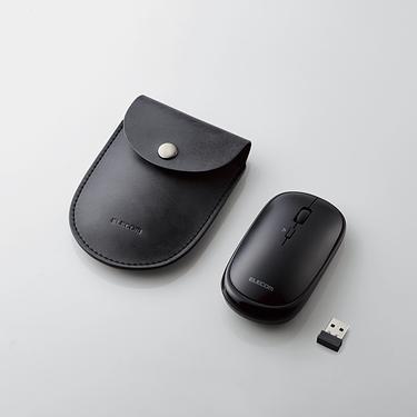ELECOM攜帶型靜音無線滑鼠附皮套/ 黑