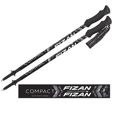 【義大利FIZAN】超輕三節式健行登山杖2入特惠組 Pivot黑
